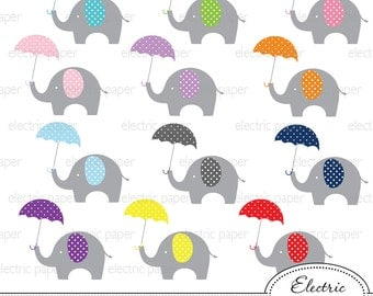 Elephant with Umbrella Clip Art - Elephants holding Umbrella - Elephant - jpg and png files - eps file - personal and small commercial use