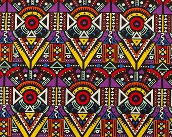 C2041C - 140cmx100cm Cotton Fabric - Geometric patterns - Circle,Triangular shape (purple)