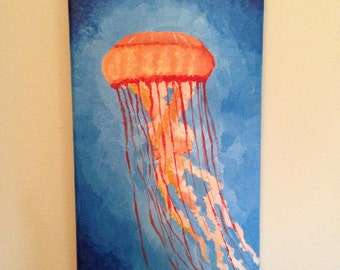 "Orange Jellyfish 7""x14"" Acrylic Painting on Canvas 