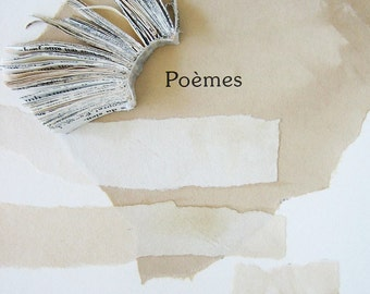 Original Book Art - Poèmes / Poems - handmade book fragment, tea-stained paper, torn, textile, linen, 8x10, 20x25 cm