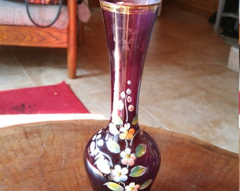 Vintage Purple Vase. Handpainted, rimmed in gold. Gold is faded. No chips