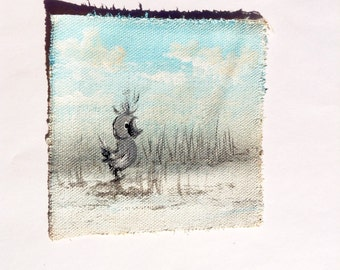 Duckling in a snowy pond original mini painting on cotton canvas