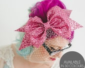 Glitter Bow with Birdcage Veil