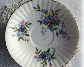 Little 4 5/8 inch Bluets Flower Design Plates with ridged edges ~ Royal Windsor Fine Bone China ~ England