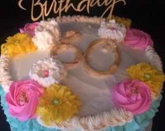 Gold shimmer Happy Birthday cake topper!