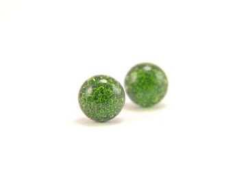 Spring green on blue bubbles fused glass stud earrings full of tiny bubbles with surgical steel posts
