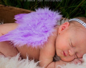 Newborn Baby Lavender Angel Wings Embellished With a Rhinestone Bow, Matching Headband, Newborn Photo Prop, Beautiful Ready To Ship