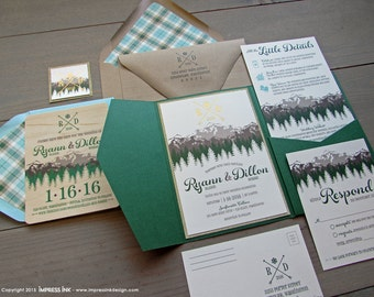 Rocky Mountains Wedding Invitation Sample | Flat or Pocket Fold Style | Ombre Mountain and Trees | Glitter Invitation | Pocket Invitation