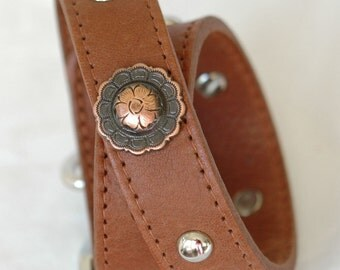 Brown Leather Dog Collar, Southwestern Leather Dog Collar with Copper Conchos , Super Supple Two Layer Sturdy,  Dog Collar Leather