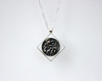 Silver Land and Sky Square Necklace with 14k Gold Accents