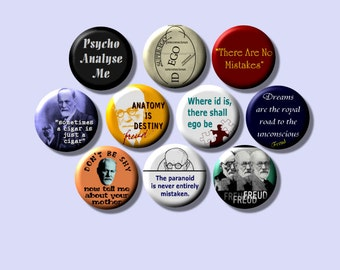 Sigmund FREUD Psychoanalysis set of 10 Fridge Magnets one inch round
