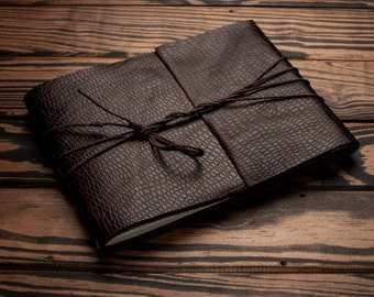 Leather Journal or Leather Sketchbook, Large Sized Notebook, Lizard Embossed Brown Leather Handbound Photo Album