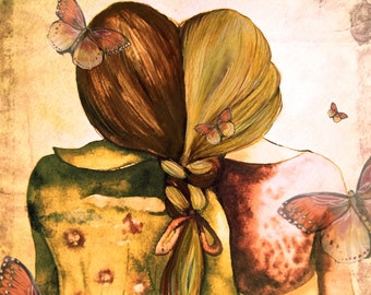 Art print sisters best friends  gift idea  with blonde and brown hair butterflies