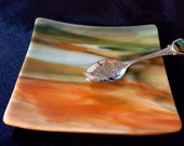 "AVENTURINE GREEN ORANGE 3.5x3.75"" Coaster Jewelry Spoon Rest Glass AG2"