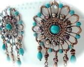 Boho Earrings - Turquoise Earrings - Bohemian Jewelry - Gipsy Earrings - Bohemian Chandelier Earrings - Copper Earrings - Statement Earrings