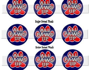 INSTANT DOWNLOAD Navy Blue Red All paws up  Paw Print   1 inch Circle Bottlecap Images 4x6 sheet