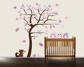 Shelf Tree decal, Vinyl Shelf tree, vinyl wall art, tree wall decal, Owl wall decal