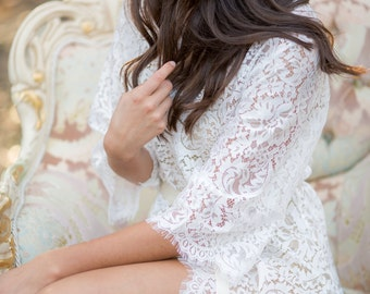 Ivory French Lace Robe for Bride, A must-have for every bride to be