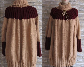 CLEARANCE SALE, Claret Red Plus Size Sweater with Poloneck,Beige Hand Knitted Sweater, Grunge Sweater, Plus Size Over Size Tunic