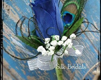 Royal blue PEACOCK feather Boutonniere rose Groom groomsman bridal silk wedding flowers