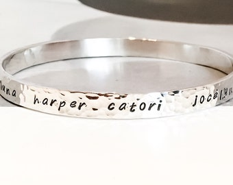 Personalized Custom Silver Bangle Bracelet // Sterling Silver
