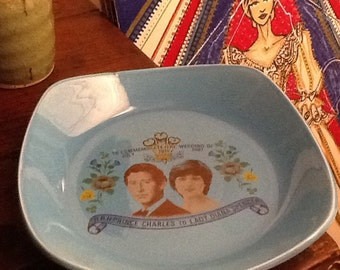 Vintage Candy Dish Turquoise Blue Ceramic Royal Wedding Charles and Diana