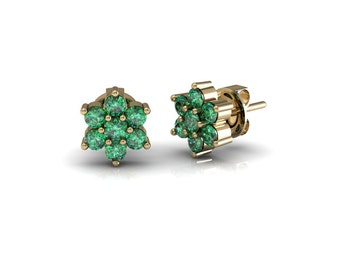 Emerald Ruby Sapphire Blossom Stud Earrings in 14k Yellow Gold| made to order for you within 5-7 business days