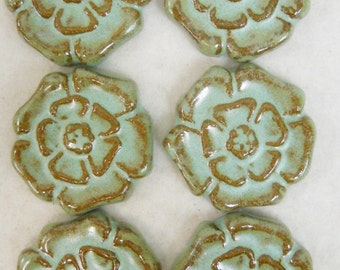 Handmade Decorative Ceramic Tiles Rosette Pattern Stoneware set of 6 Turquoise Stone - Mosaic Tile Pieces - Craft Tiles