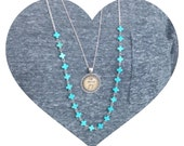 Turquoise Howlite Linked Cross Necklace.Dainty Silver Layering Necklace.  28 inches