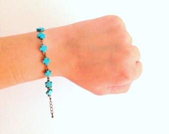 Little Turquoise (Howlite) Cross Bracelet.  Boho Link Bracelet