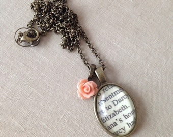 Elizabeth and Darcy.  Pride and Prejudice Book Necklace.  Hendersweet. 24 inches