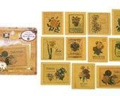 Retro Label Sticker Set - Paper Flake Sticker - Floral - 11 Pcs in different designs