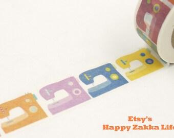 Japanese Washi Masking Tape - Colorful Sewing Machine - 11 Yards