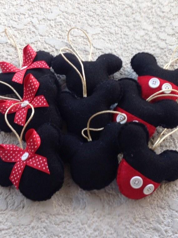 Mickey mouse fieltro adorno merry christmas set de 9 mickey for Adornos navidenos mickey mouse