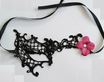 Pretty Half Face Black Lace Mask Masquerade with Silk Flowers Accents