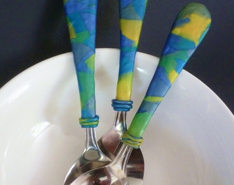 Three-Piece Clay Covered Serving Set-Blue-Green Mosaic