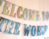 Map Banner,Welcome To The World, Globes, Earth Banner, Vintage Travel Theme, Map Theme,Photo Prop, Wedding Garland, Map Wedding,Custom Fonts