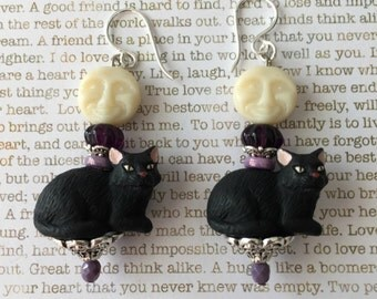 Black Cat Earrings - OOAK - Made With Crystals Ceramic Cats in Black White and Purple Cat Jewelry Full Moon Earrings Black Kitties Kittens