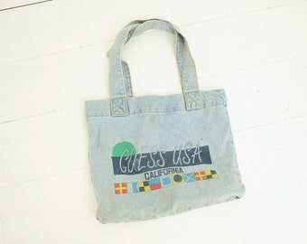 Vintage Guess USA Denim Tote bag by Georges Marciano, Made in USA / ITEM429