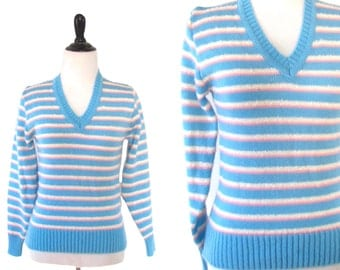 Vintage 1980's Blue and Pink Striped V Neck Sweater Size M