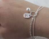 Personalized Bridesmaids Bracelet, Swarovski Pearl Jewelry Silver charm Maid of honor Gift