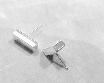 Geometric hollow Rectangle silver stud posts earrings , sterling silver plated , unisex men woman , abstract urban minimalist  earrings