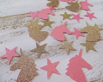 Unicorn Birthday Confetti ~ Table Scatter ~ 50 Antique Gold & Pink Glitter Unicorn Heads with matching 30 Stars