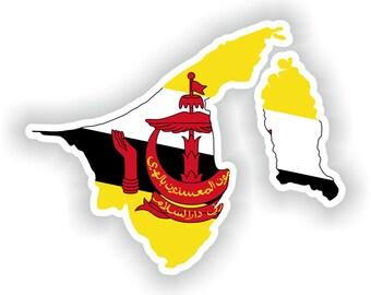 Brunei Map Flag Silhouette Sticker for Laptop Book Fridge Guitar Motorcycle Helmet ToolBox Door PC Boat