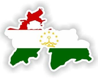 Tajikistan Map Flag Silhouette Sticker for Laptop Book Fridge Guitar Motorcycle Helmet ToolBox Door PC Boat