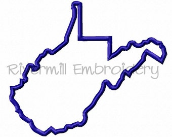 State of West Virginia Applique Machine Embroidery Design - 4 Sizes