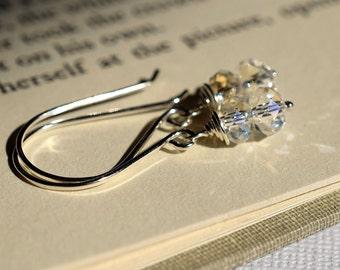 Swarovski Crystal Moonlight Earrings, Sterling Earrings, Stacked Earrings, Blue Flash Earrings, Clear Crystal Earrings, Sparkly Earrings