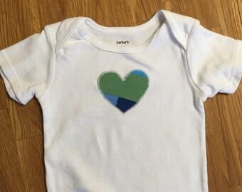 Green Aqua Blue Patchwork Appliqued Heart 18 Month Short Sleeve Onesie Bodysuit, B550