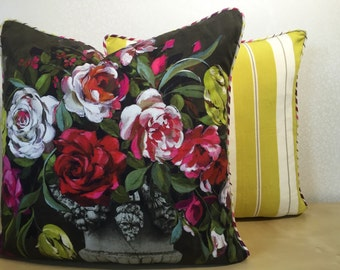 Statement cushion cover of classic URN OF FLOWERS printed on substantial cotton in Pinks Citrus zest Olive green & Slate by Designers Guild