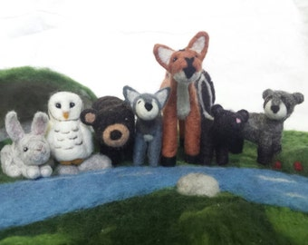 Waldorf Inspired Needle Felted Woodland Animal Set (made to order)